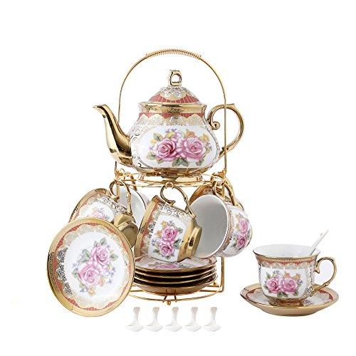 ufengke-ts 13 Stück Europäischen Titan Gold Tee Set Mit Metall Ständer, Rose Druck Vintage Keramik Teeservice Service Kaffee Set, Für Geschenk Und Haushalt