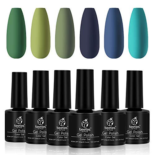 Beetles Winter Green Gel Nail Polish Kit - Olive Green Avocado Gel Polish Set Navy Blue Dark Blue Turquoise Soak Off UV LED Nail Gel Kit, 7.3 ml Each Bottle Gifts Box
