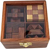 Ortus Arts 4-in-One Wooden Puzzle Games Set 3D Puzzles for Teens and Adults