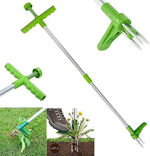 Hilif Garden Stand Up Weeder and Weed Puller Stand up Manual Weeder Hand Tool with 3 Claws Stainless Steel and High Strength Foot Pedal Weed Puller 39