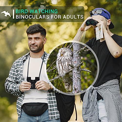 Aurosports 10x25 Binoculars for Adults and Kids, Folding Compact Binocular with Weak Light Night Vision, Lightweight Small Binoculars for Bird Watching, Travel, Concerts, Hunting, Hiking