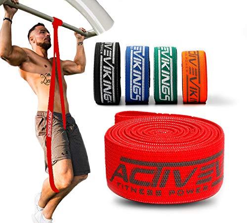 ActiveVikings® Pull-Up Stoff Fitnessbänder - Perfekt für Muskelaufbau und Crossfit Freeletics Calisthenics - Fitnessband Klimmzugbänder Widerstandsbänder (A - Rot (X-Light))