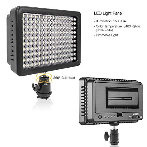 LimoStudio 160 LED Video Light for Digital DSLR Camera, Camcorder, High Brightness Lumen Value, Dimmable Switch with Color Filter Gel, Battery & Charger & Carry Case Bag Included, AGG1318