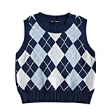 ZAFUL Women's Pullover Argyle Plaid Sweater Vest Houndstooth Knitted Sleeveless Sweater Preppy Style Vintage Knitwear Top