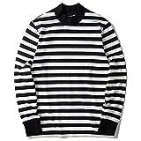 Zengjo Mock Turtleneck Striped Long Sleeve Shirt for Men(XXL,Black&White Wide(Plain))