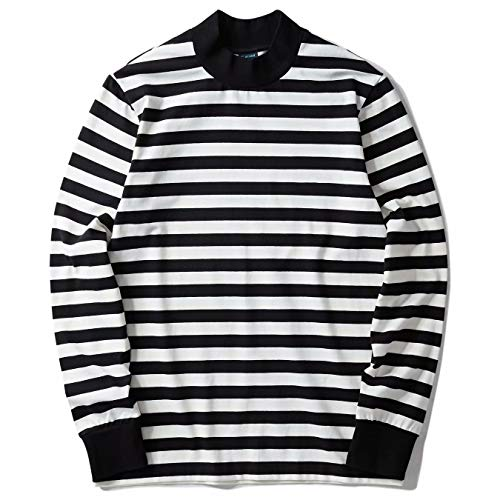 Zengjo Mock Turtleneck Striped Long Sleeve Shirt for Men(XXL,Black&White Wide(Plain))