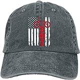 QISHUO Baseball Cap for Men & Women, BMX USA American Flag Women's Cotton Adjustable Denim Cap Unisex Jeans Hat