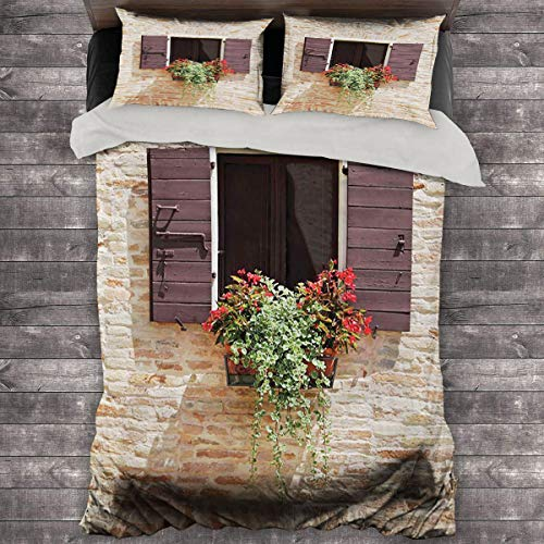Miles Ralph Tuscan Decor Collection Medium Double Duvet Cover Antique Looking Window on Ancient Stone Wall with Flowers Pienza Tuscany Print Oversized Down Duvet Cover 68'x86' inch Beige