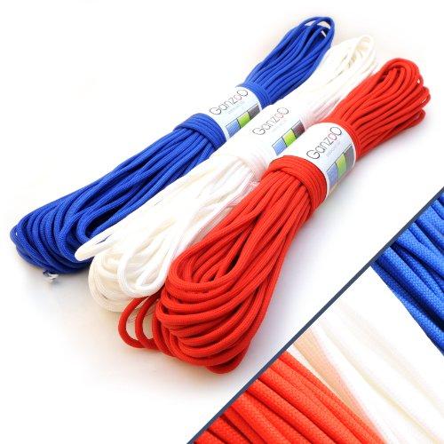 Ganzoo Lot de 3 paracorde 550 à usage universel en nylon indéchirable Bleu Blanc Rouge Longueur totale 90 m