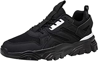 AUCDK Men Casual Chunky Trainers Breathable Leather and Mesh Sport Shoes with Platform Sole for Running Fitness