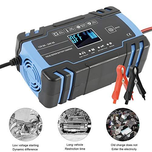 Mantenitore di Carica Auto e Moto 12V/8A 24V/4A Intelligente Caricabatteria Protezioni di Carica Auto e Moto Camion AGM Batteria con Schermo LCD