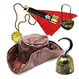 JOYIN 6 Pieces Leatherette Tri-fold Caribbean Pirate Hat Pirate Costume Accessory Set for Adult