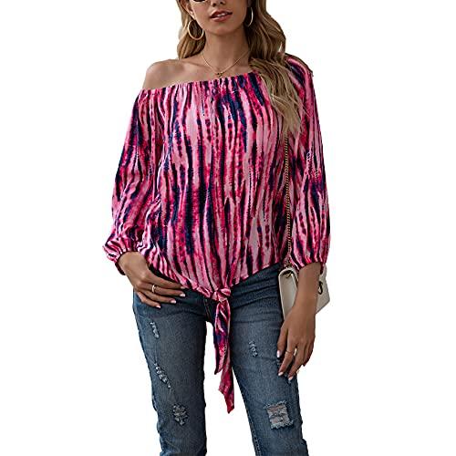 Primavera Y Verano, Camiseta Holgada Informal con Estampado De TeñIdo Anudado Y Un Hombro, Camiseta De Manga Larga para Mujer