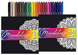 Mandala Coloring Books Set. Thick Paper Mandalas Bundle with 24 Colorful Markers, Featuring 70 Relaxing Coloring Pages.