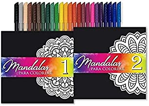 ALTAMIRA Mandala Coloring Books Set. Thick Paper Mandalas Bundle with 24 Colorful Markers, Featuring 70 Relaxing Coloring Pages.