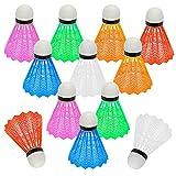 Hysagtek - 12volantes de pluma de bádminton para jugar o entrenar tanto fuera como dentro. Colores al azar.