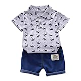 Xmiral Kids Baby Boy Kurzarm Bedruckte Tops + Denim Shorts Outfits Set Umlegekragen Polo Shirt Jeans Kleidungsset(Grau,12-18Monate)