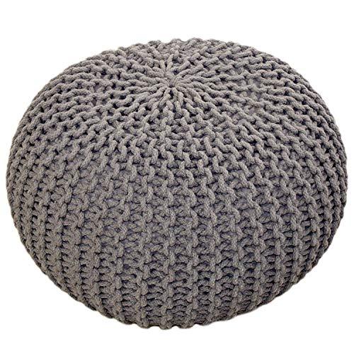 casamia Pouf Ø 55 cm sgabello a maglia seduta pouf pavimento cuscino grossolano a maglia look extra alto 37 cm colore grigio chiaro