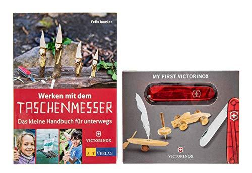 My First Victorinox Taschenmesser, transparent-rot + Buch: Werken mit dem Taschenmesser + persönliche Gravur