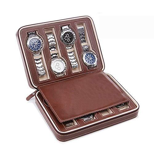 Organizador de Caja de visualización de Reloj portátil, Caja de Cuero de PU para Almacenamiento, Caja de Viaje para Hombres y Mujeres, Organizador de Caja de Reloj con Cremallera, marrón, 8