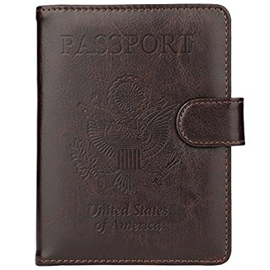 GDTK Leather Passport Holder Cover Case RFID Blocking Travel Wallet (Coffee)