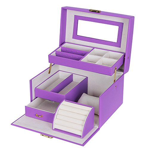 SONGMICS Jewelry Box, Girls Jewelry Organizer, Lockable Mirrored Storage Case,...