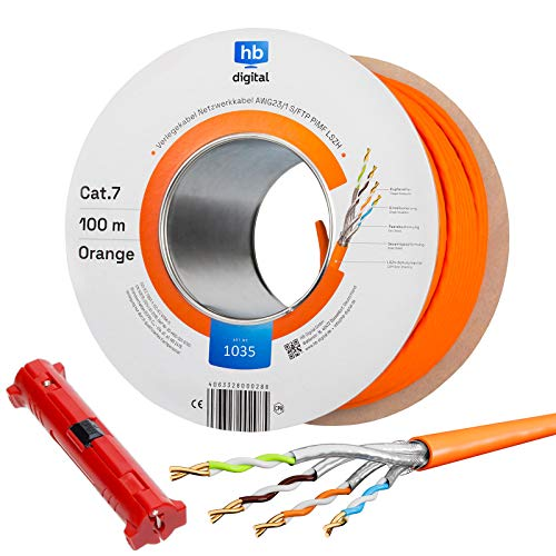 hb-digital 100m CAT.7 Netzwerkkabel LAN Kabel Verlegekabel AWG23 Reines Kupfer S/FTP PiMF LSZH Halogenfrei RoHS-Compliant Ethernet Installationskabel Datenkabel PoE 10Gbit/s max. 1000MHz + Abisolierer
