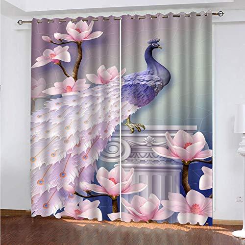 WLHRJ Cortina Opaca en Cocina el Salon dormitorios habitación Infantil 3D Impresión Digital Ojales Cortinas termica - 183x160 cm - Pavo Real de Flores Rosadas