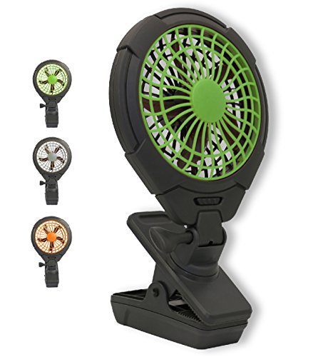 O2COOL 5' Battery Operated Clip Fan - Adjustable, Rotating, Tilt & Swivel Feature Portable Fan   AA Battery   2 Speed   for Camping, Outdoors, Travel, Office Desk & Dorm Room