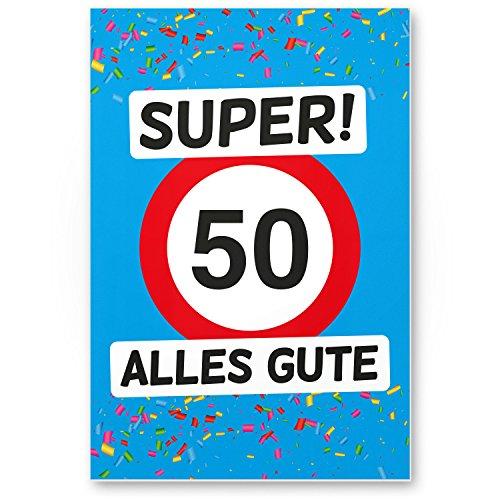 Bedankt! 50 Alles Gute - plastic bord (blauw), geschenk 50e verjaardag, cadeau-idee verjaardagscadeau vijfstigste, verjaardagsdeco/partydeco/feestaccessoires/verjaardagskaart