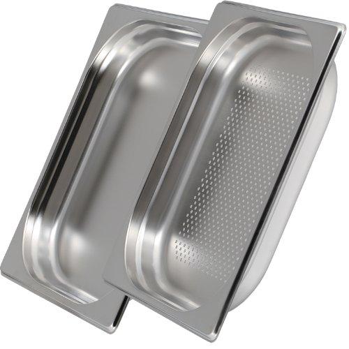 Greyfish 2 Stück GN Behälter Set :: 1x gelocht / 1x ungelocht :: für Gaggenau/Miele/Siemens Dampfgarer (Gastronorm 1/2, Edelstahl/Spülmaschinentauglich, 40mm tief)