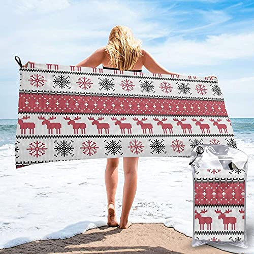 AOOEDM Fair Isle Moose Red Winter Knits Microfiber Beach Towel Quick Dry Ultra Soft Travel Pool Towel for Women Men Adult