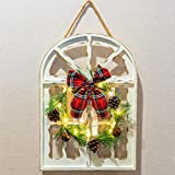 FUNPENY Christmas Hanging Door Decorations,Handmade Wooden Holiday Door Decor,Wood Plaque Signs Christmas Wall Ornament Home, School, Office Including Wreath, Bow, Wooden Arch, Led Lights
