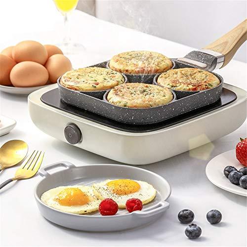 Sartén de cuatro agujeros para tortilla, color negro, antiadherente, jamón, panqueque, mango de madera, cocina, desayuno (color: mango de plástico)
