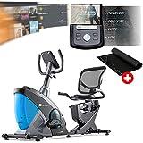 Vélo d'appartement Semi-Allongé HS-070L Helix (Bleu) Masse d'inertie 18,5 kg, Siège réglable avec Dossier,Ordinateur Multifonctionnel, roulettes de Transport