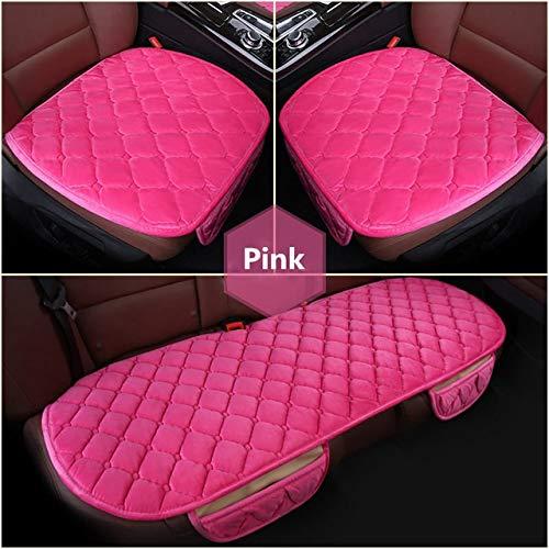 Material del asiento de coche amortiguador de la cubierta de invierno Frente universal carcasa trasera del asiento de coche silla de coche del cojín Cuadrado caliente de lujo ( Color : Pink set )