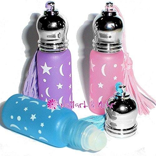 3 Stk. ROLL-ON-Schlüsselanhänger-Flaschen MOND+STERNE 6ml ... zum Befüllen mit Nagelöl, Lipgloss, Parfum etc ... das ideale Kundengeschenk. Farbmix erfolgt je nach Verfügbarkeit!