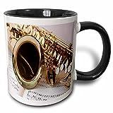 3dRose Print Of Close Up Of Saxophone On Sheet Music Mug, 11 oz, Black