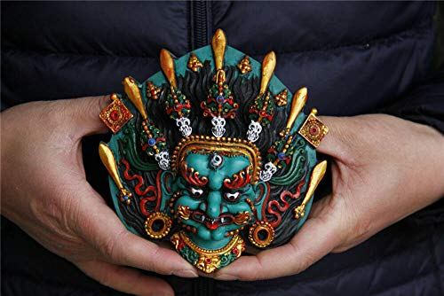 BENGKUI Skulptur,Tibet Buddhismus Türkis Vergoldet Schwert Schädel Mahakala Maske Statue