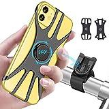 OOWOLF Support Téléphone Vélo Moto,2Pcs Porte Telephone Velo Moto Rotation à 360°Silicone Robuste et Silencieux pour Toutes Les Marques de Téléphones iPhone GPS de 4,0 à 6,5 Pouces.