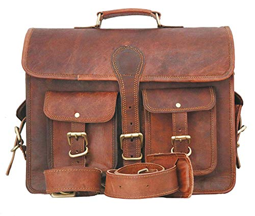 "Yefa Brown Vintage Handmade Leather Messenger Bag for Laptop Office Briefcase Best Computer Satchel School Distressed Bag (13"" x 18"" x 6"")"