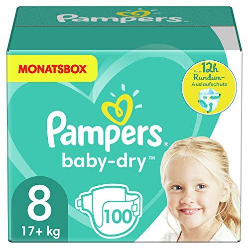 Pampers Größe 8 Baby Dry Windeln, 100 Stück, MONATSBOX, Für Atmungsaktive Trockenheit (17+kg)