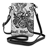 Women Small Cell Phone Purse Crossbody,Evil Hipster Dead Skull Skeleton Motorbike Rider Wings Drive To Hell Humor Image