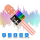Verkstar Upgraded Wireless Bluetooth Karaoke Microphone with Controllable Colorful LED Lights, Portable Handheld Speaker Mic Machine Gift for Birthday/Christmas Party/Family(Rose Gold)