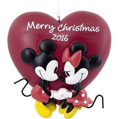 2016 Hallmark Disney Christmas Ornament Mickey & Minnie Mouse Love Heart
