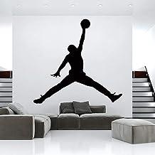 Hot Jordan Baloncesto Vinilo Etiqueta De La Pared Wallpaper Para La Habitación De Los Niños Decoración Del Dormitorio Mural Gym Decoración De La Habitación Accesorios Wallsticker Tamaño:56 * 59CM