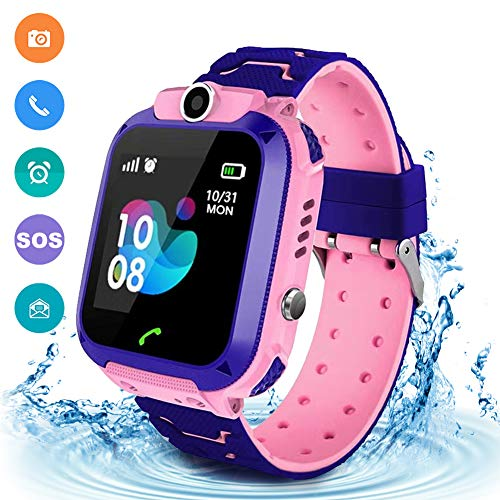 Kids Waterproof Smart Watch Phone, LBS/GPS Tracker Touchscreen Smartwatch Games SOS Alarm Clock Camera Smart Watch Christmas Birthday Gifts for 3-12 Boy Girls(Excluding SIM Card)