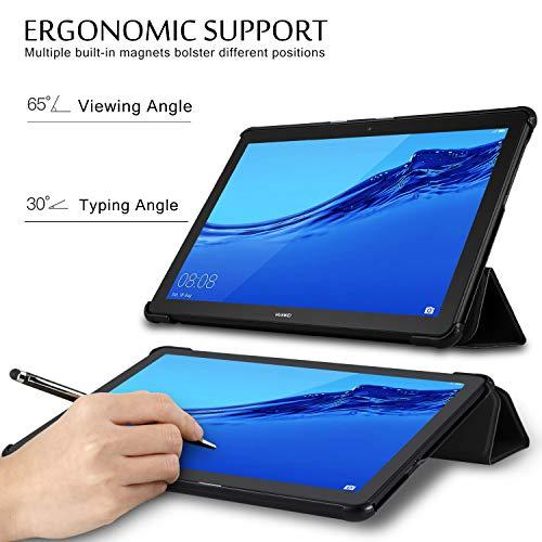 ELTD Hülle für Huawei MediaPad T5 10,Ultra Lightweight Flip mit Ständer Funktion und Eingebautem Magnet Hochwertiges PU Leder Schutzhülle für Huawei MediaPad T5 10 10.1 Zoll 2018 (Schwarz)