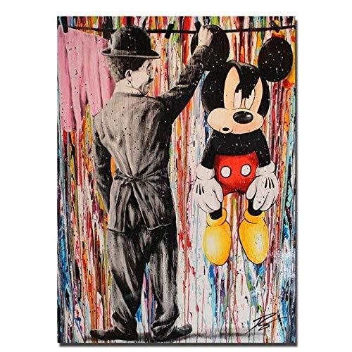 WIOIW Dibujos Animados Modernos Graffiti Street Art Divertido Charlie Chaplin Catch Mic-Key Mouse Abstarct Lienzo Pintura Arte de la Pared Póster Impresiones Dormitorio Sala de Estar Decoración del