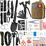 Emergency Survival Kit and First Aid Kit, 142Pcs Professional Survival Gear and Equipment with Molle Pouch, for Men Camping Outdoor Adventure (Khaki)